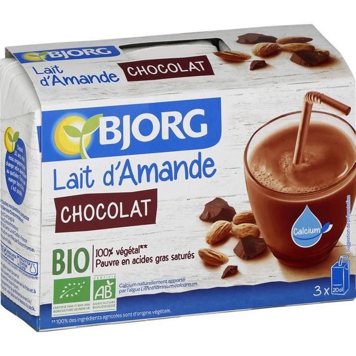 BJORG Lait d'Amande et au Chocolat Bio 3 X 20 cl