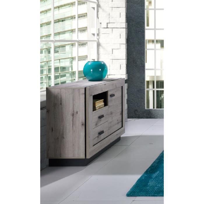 PRICE FACTORY - Buffet, bahut petit modèle MALA coloris chêne wellington. Meuble design idéal pour votre salon ou salle à manger