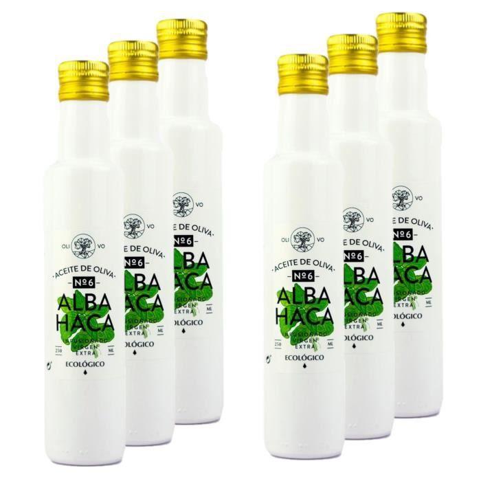 Lot 6x Huile olive extra vierge BIO - Infusée au basilic - bouteille 250ml