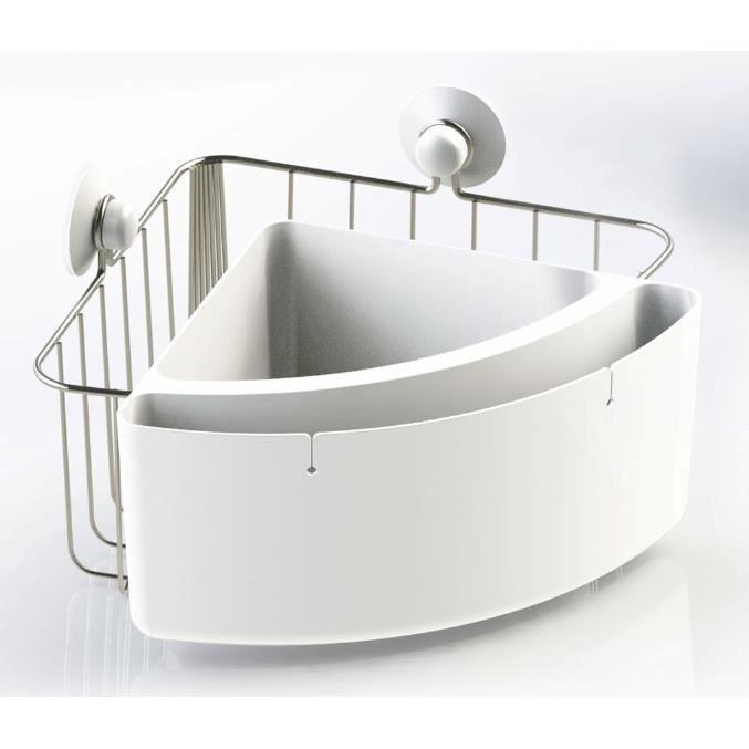 Panier de douche d'angle en acier inoxydablet et ABS - 2 compartiments de rangement - 2 ventouses incluses - Métal - blanc -