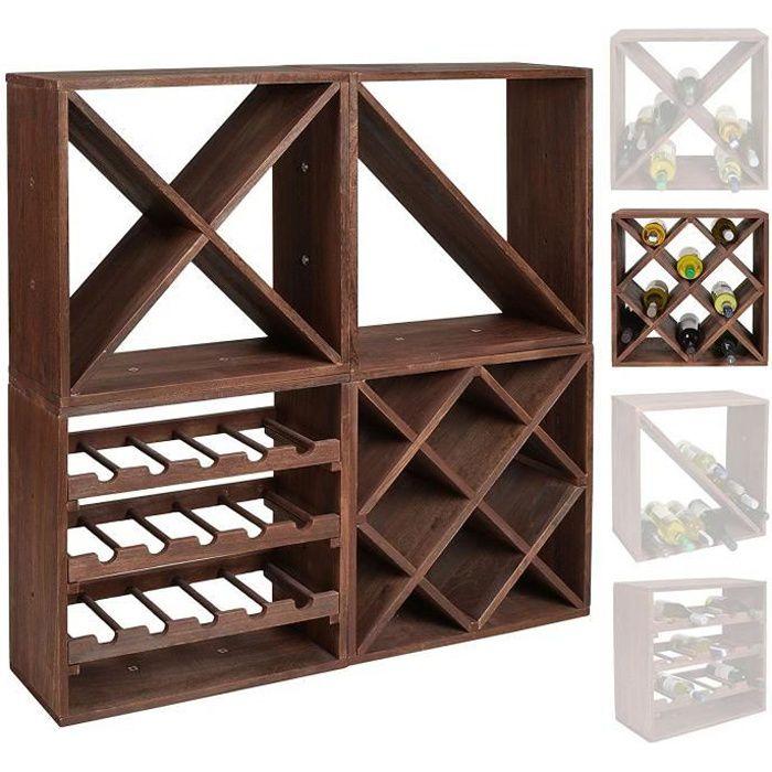 Casier à bouteilles de vin - Système modulaire CUBOX 50 - Mod Dunkel 20 ROMBO - Capacité de 20 bouteilles de 75 cl. - Taille 50 x