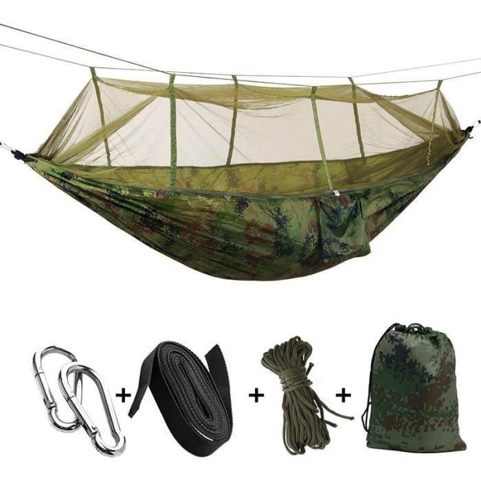 Portable haute resistance Paracute Tissu Camping Hamac Lit Suspendu Avec Moustiquaire Hamac de couchage en filet Camo