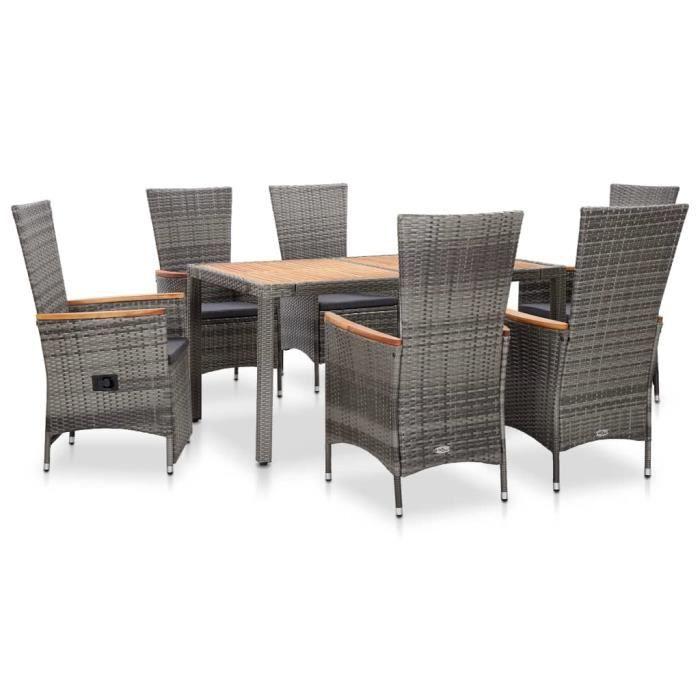 Salon de jardin 1 table AVEC 6 chaises à dossier haut avec coussins Résine tressée Gris