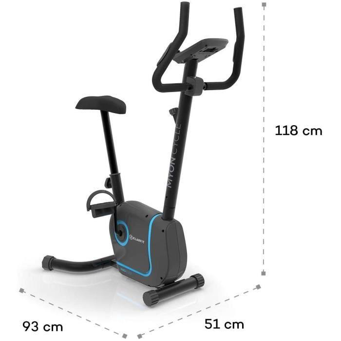 KLAR FIT Klarfit Myon Cycle - Vélo d'appartement, Résistance à 8 Niveaux, Fonction MagResist, Support de Tablette, Capteur de fréque