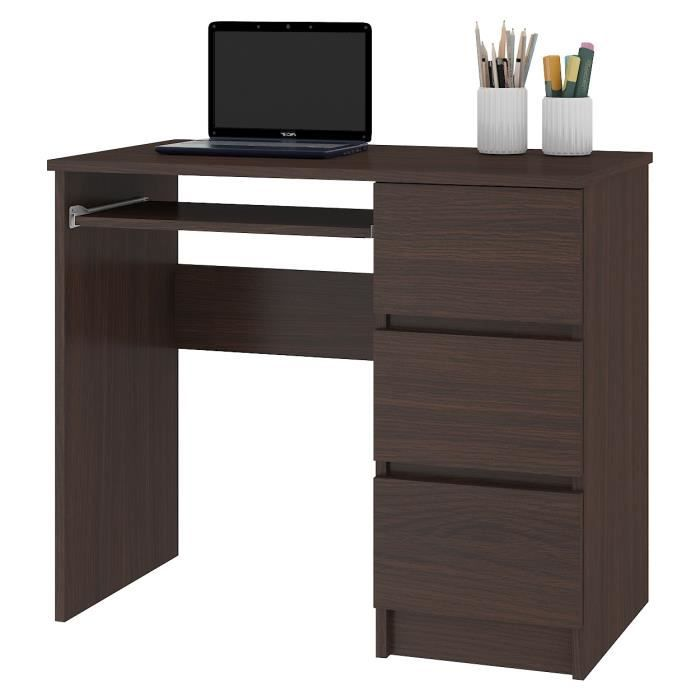 MIR - Bureau informatique multimédia moderne 90x77x50 - 3 tiroirs + support clavier - Table ordinateur multi-rangements - Wenge