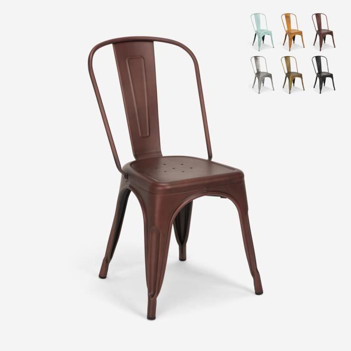Chaises design industriel vintage en métal shabby chic style Tolix Steel Old, Couleur: Bronze