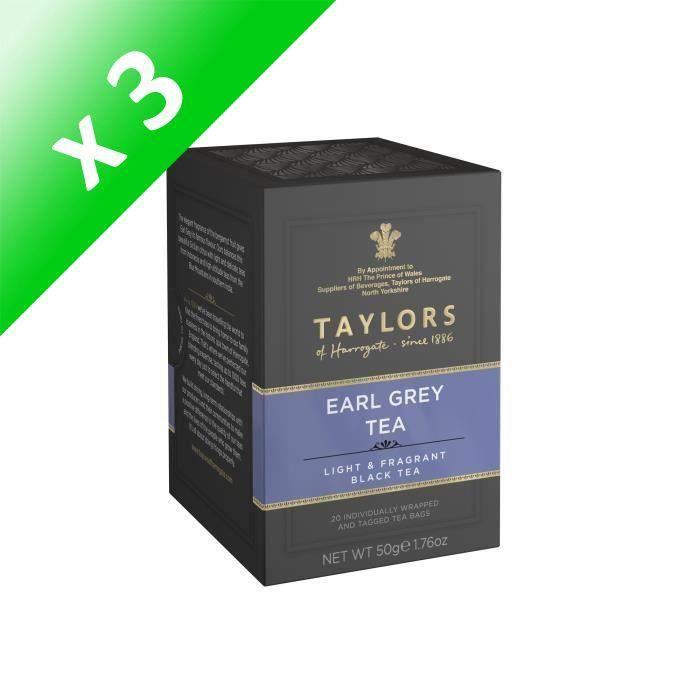 [LOT DE 3] TAYLORS Thé Noir Earl Grey - 20 sachets - 50 g
