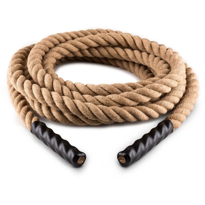 CAPITAL SPORTS Power Rope Corde d'entraînement en chanvre pour cross-training & musculation (9m de longueur, diamètre 3,8cm)