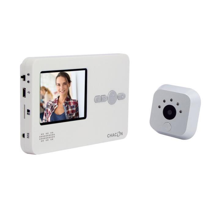CHACON Interphone vidéo avec judas digital avec écran LCD 2,8- mains libres