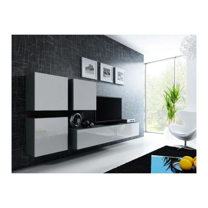 Meuble TV design RANDY - Gris et blanc