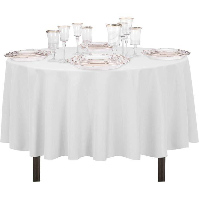 Nappe Ronde de Table Polyester Coton Housse Circular Lavable 160 cm