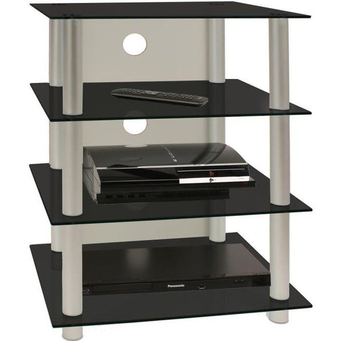 BLADOS meuble TV Hifi Video rangement verre noir métal
