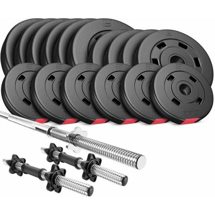 HS Hop-Sport Ensemble d'Haltères 51 kg, 1x Barre Longue, 2x Barres Courtes, Disque d'haltères 30mm: 4x5 /4x2,5 /8x1,25kg