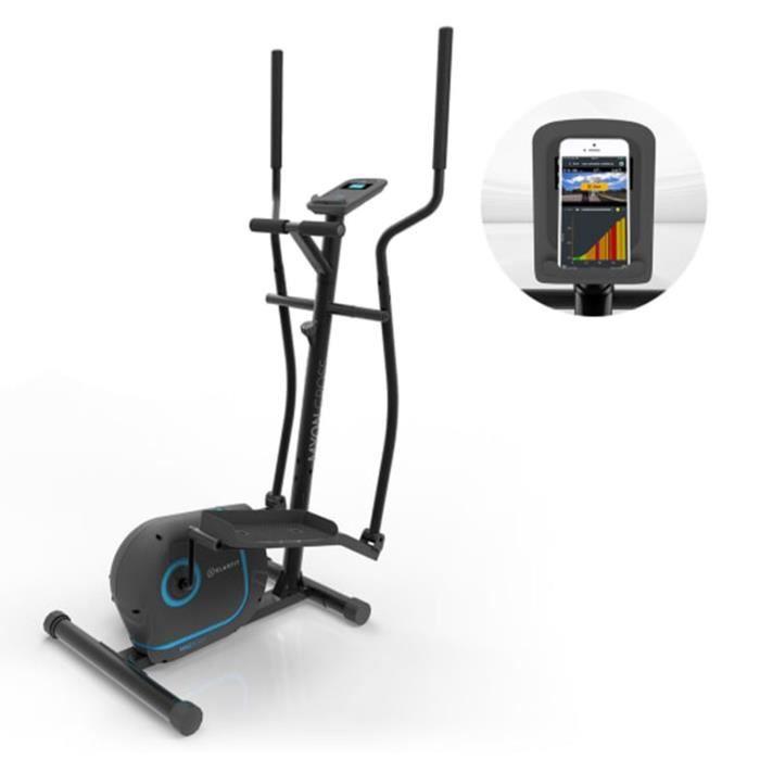 Klarfit Myon Cycle Vélo elliptique ergonomique et silencieux avec écran LCD - Inertie de 12 kg - 8 résistances magnétiques - Noir
