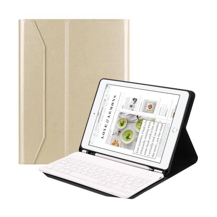 clavier sans fil Bluetooth pour Ipad 9.7 tablette avec fente de stylo et housse de protection Or