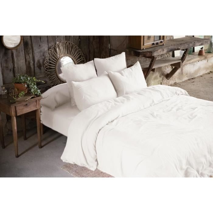 CDaffaires Pack double gaze de coton housse de couette 260 x 240 cm + 2 taies d'oreiller 50 x 70 blanc Blanc
