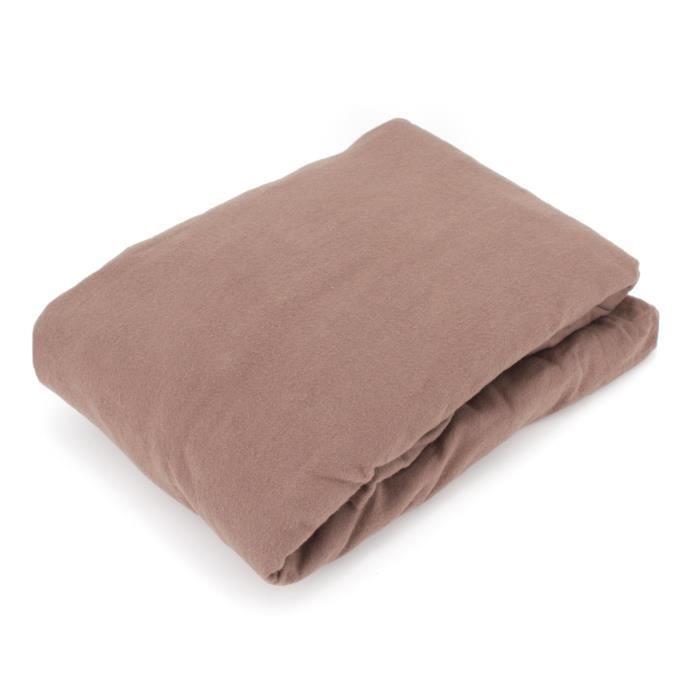 Drap housse flanelle unie 160x200 cm 100% coton WALES marron Taupe Marron
