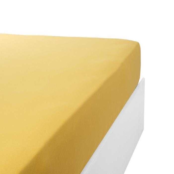 LINANDELLE - Drap housse coton jersey extensible DOUCEUR - Jaune or - 200x200 cm