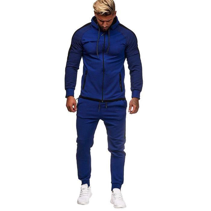 hommes automne gradient zipper imprimer sweat top pantalons ensembles sport suit survêtement bleu foncé ZZS201210741DB