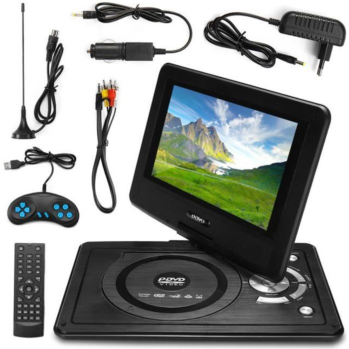 NEUFU Lecteur DVD Portable Écran 8.8'' Rotatif USB SD MP4 MP3 MS MMC TV AV SVC VCD CD CD-R RW