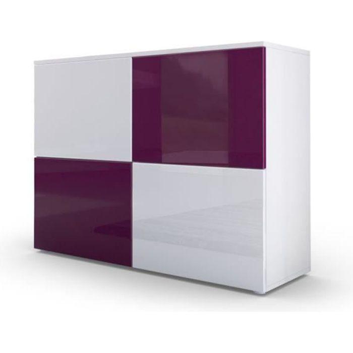 Commode moderne façades bicolores prunes et blanches laquées et corps mat blanc