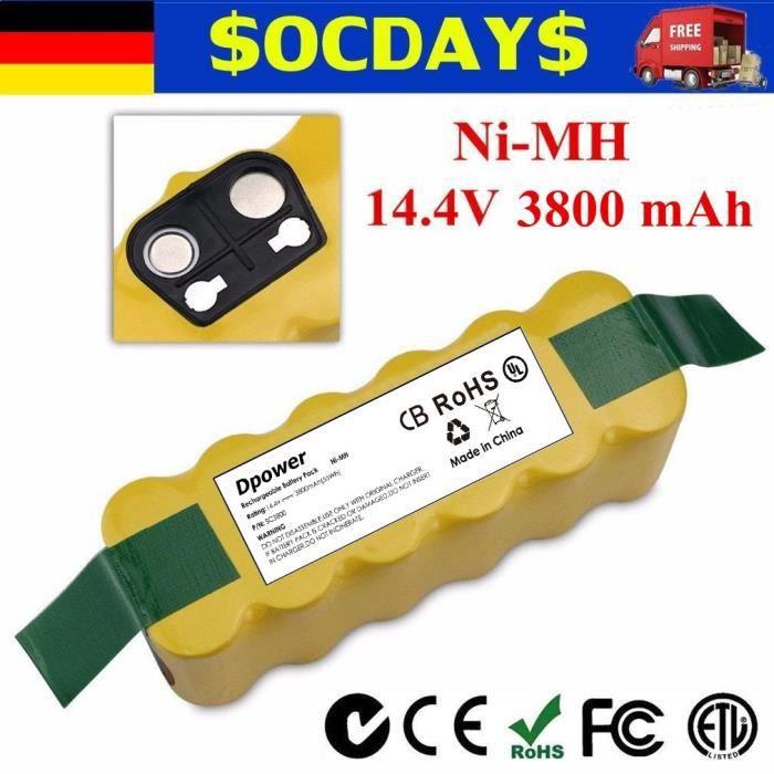 Dpower 14.4V 3800mAh Ni-MH APS Batterie pour iRobot Roomba 80501 R3 500, 600, 700 Batterie & 800 série Discovery Series Robotic
