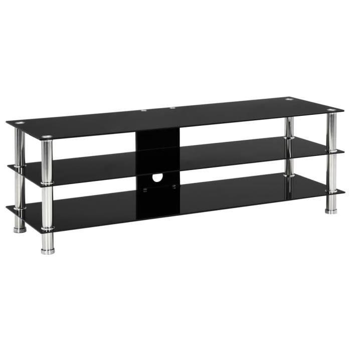 Meuble TV-scandinave contemporain Meuble de salon MEUBLE HI-FI Noir 120 x 40 x 40 cm Verre trempé