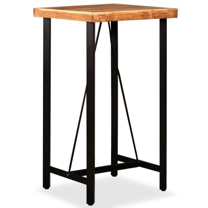 1521LIFE® Magnifique Table de Bar Haute Table de Comptoir-Table de Bar Extérieur-Mange-debout Cuisine Bois massif d'acacia 60x60x107