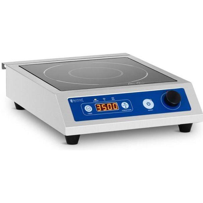 Plaque à Induction Table De Cuisson Pro Royal Catering RCIC-3500P3 (Foyer ø 22 cm, Jusqu'à 3 500 W, 60 à 240 °C, Écran LED)