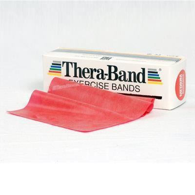 Thera-Band® 3,0m rouge moyennement fort avec bande de gymnastique rouge