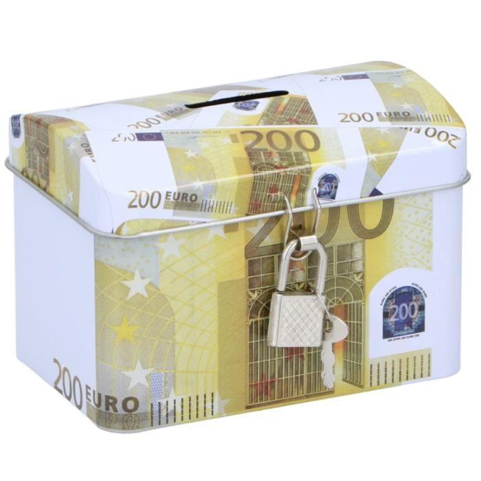 TOM tirelire 200 euros 11,6 x 8 cm acier jaune/blanc
