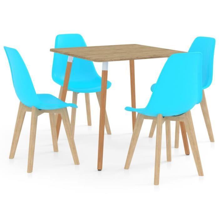 PAL Ensemble Meubles de salle à manger 5 pcs Bleu métal, MDF avec PVC, bois de hêtre 80 x 80 x 75 cm Palm rose1