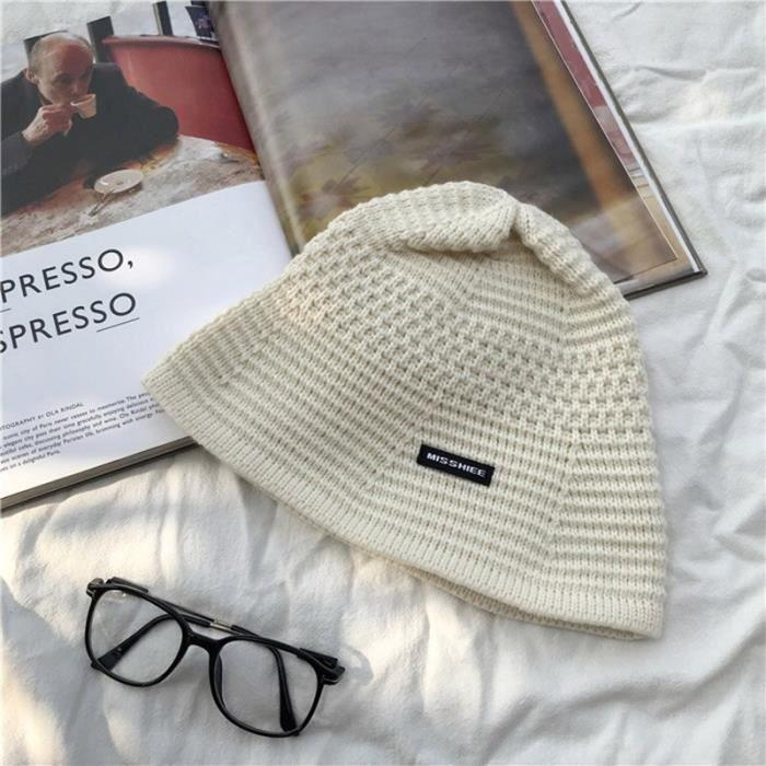 white -Bonnet tricoté pour femmes, couleur unie, chaud, mode rétro, noir, seau, hiver, épais