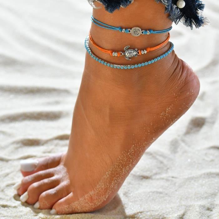 argent Ushiny Bracelet de cheville boho vague de plage pour femme et fille