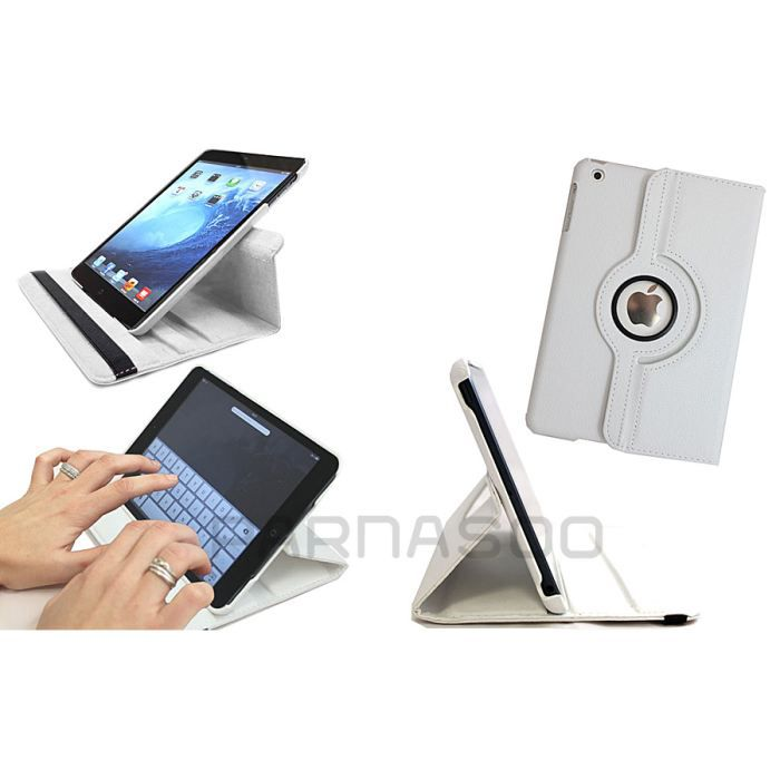 Housse etui de protection rotatif blanc ipad 2 3 prix for Housse protection ipad
