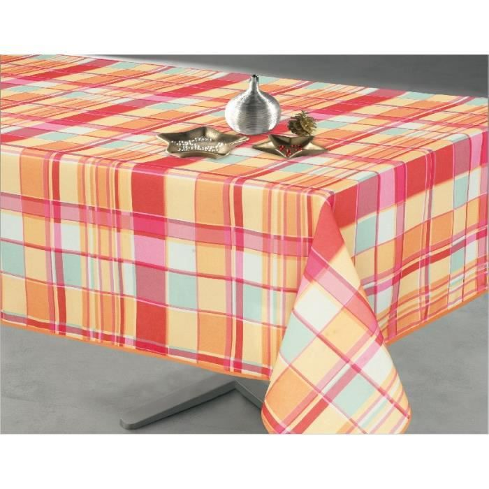 Nappe rectangulaire madras anis 145x300cm achat vente - Nappe table rectangulaire ...