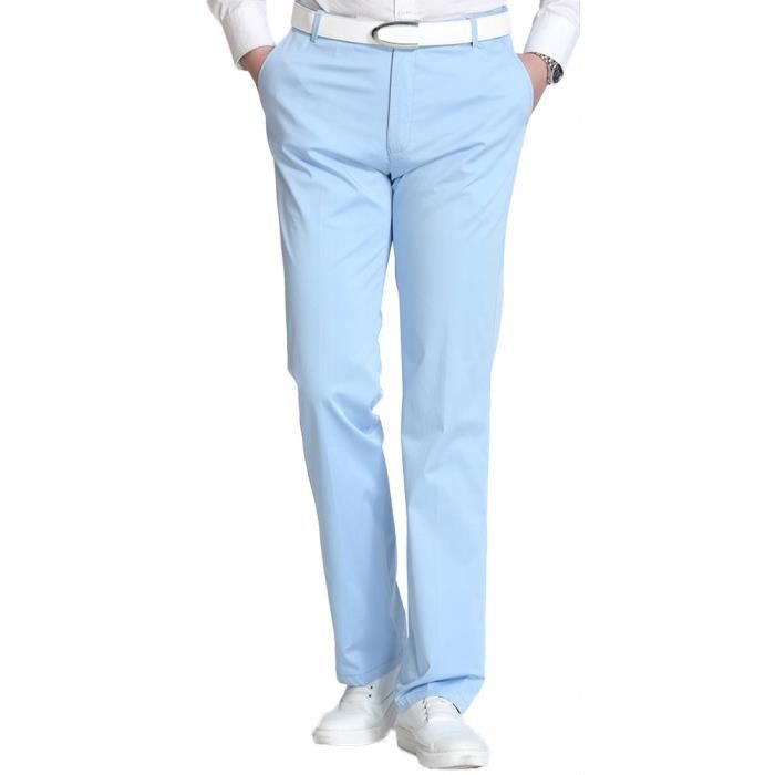 acheter authentique vaste sélection la plus récente technologie Pantalon Homme Chino Regular Fit Stretch Casual Pantalon Business Été  Taille Haute Couleur Unie