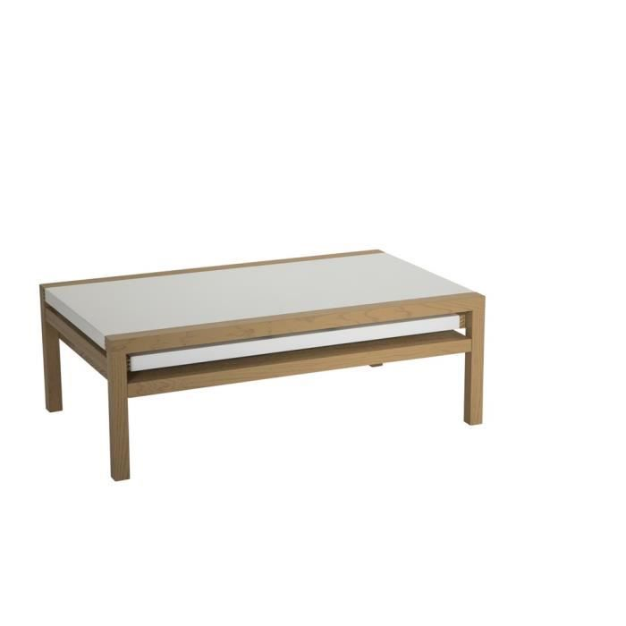 Table basse koola blanche ch ne achat vente table basse table basse koola - Table basse blanche cdiscount ...