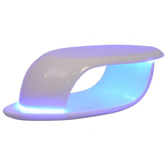 TABLE BASSE vidaXL Table basse avec lumière LED Fibre de verre