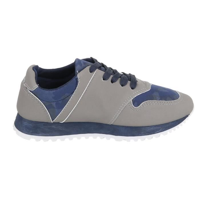 Femme chaussures loisirs chaussures lacer Sneakers bleu gris 41