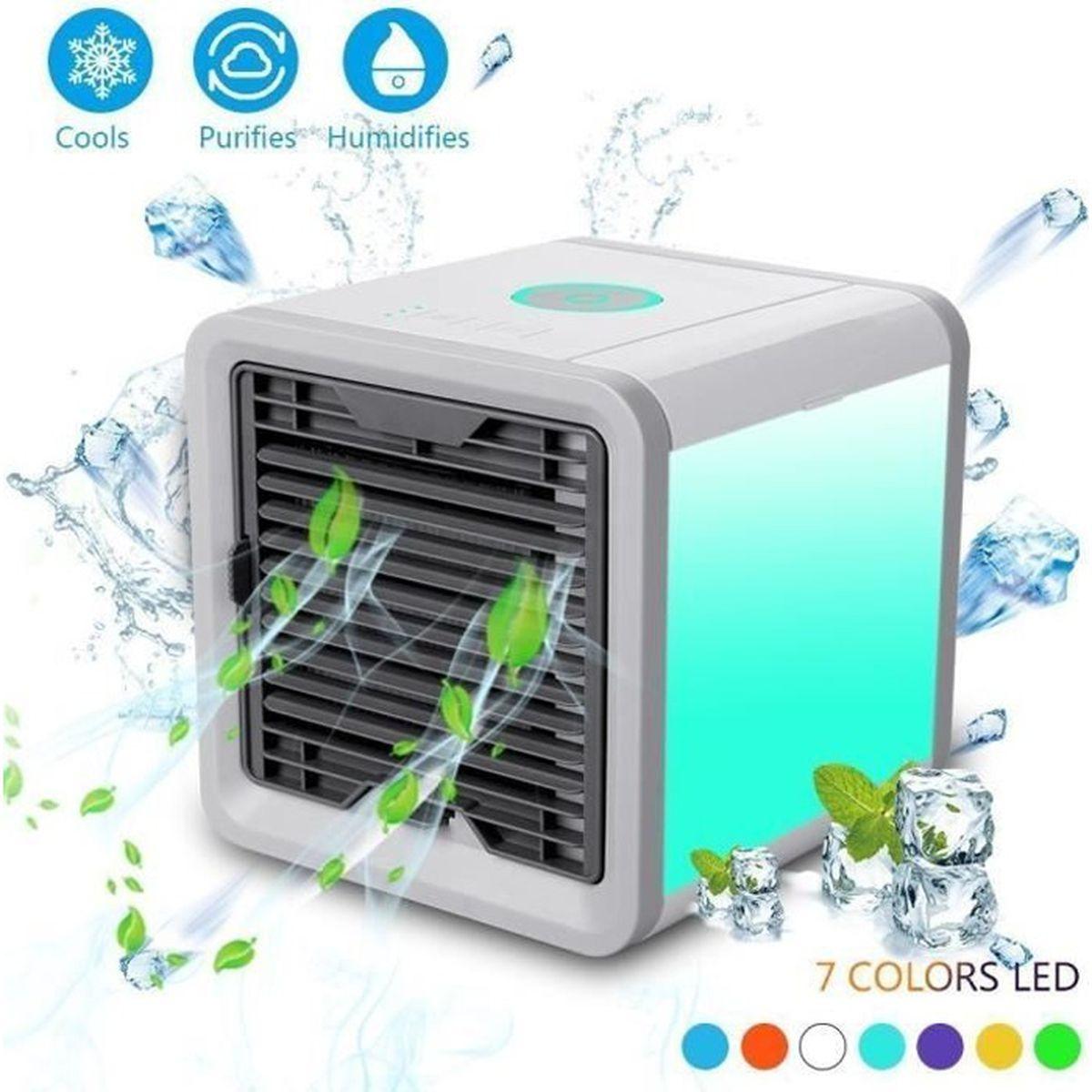 Mini climatiseur portable Air Cooler Climatiseur portable Mini Air Cooler Climatiseur Personnel Mini climatiseur pour chambre /à coucher humidificateur avec 2 minuteurs 3 vitesses 7 couleurs LED