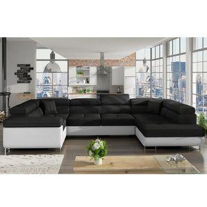 CANAPÉ - SOFA - DIVAN Canapé panoramique convertible noir et blanc LIAM