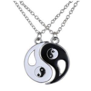 Obsidienne noire naturelle sculptée Yin Yang huit diagrammes pendentif chaînette