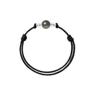 BRACELET - GOURMETTE Bracelet Ajustable Perle de Tahiti 9 mm, en Argent