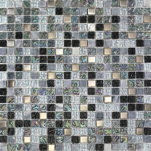 CARRELAGE - PAREMENT Mosaïque Lagon - 30 x 30 cm - Gris et noir