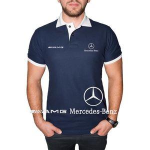 T-SHIRT Mercedes Benz AMG Polo Shirt Logo BRODÉ Bleu Blanc