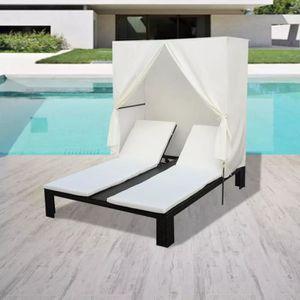 Chaise Longue Double de Jardin en Acier Bain de Soleil pour terrasse dext/érieur Patio Marron 200 x 173 x 45 cm Festnight