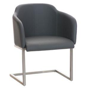 CHAISE Chaise visiteur en acier inoxydable -cuir artifici
