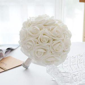 FLEUR ARTIFICIELLE BLANC Dia. 21cm bouquet de rose Boule de fleur art