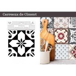 STICKERS Lot de 6 Stickers Carreaux de Ciment - Noir Motif
